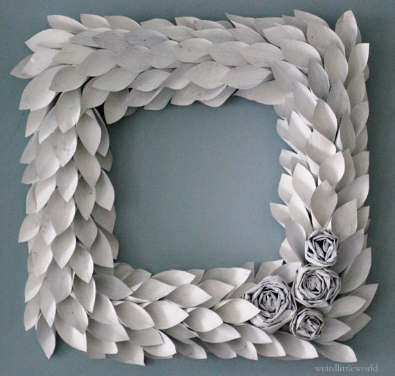 white painted newspaper square wreath- 18 inch - rosette and leaf