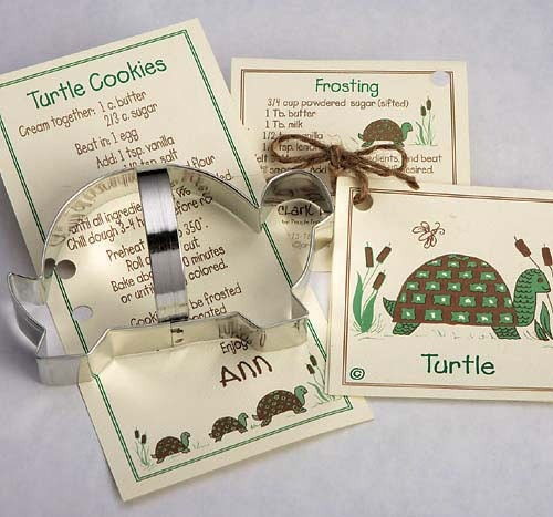 Turtle Cookie Cutter with Ribbon Recipe Card - Made in the USA - BakersBlingShop