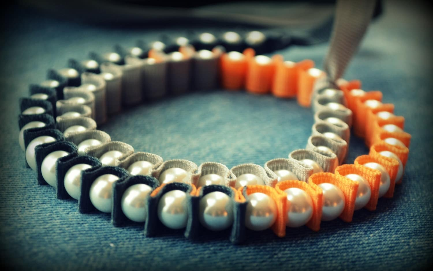 Wrap Bracelet - The Valerie Colorblock Wrap Bracelet - in Shades of Gray and Dried Apricot