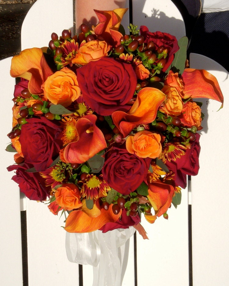 Fall wedding bouquet made of silk flowers. - Hollysflowershoppe