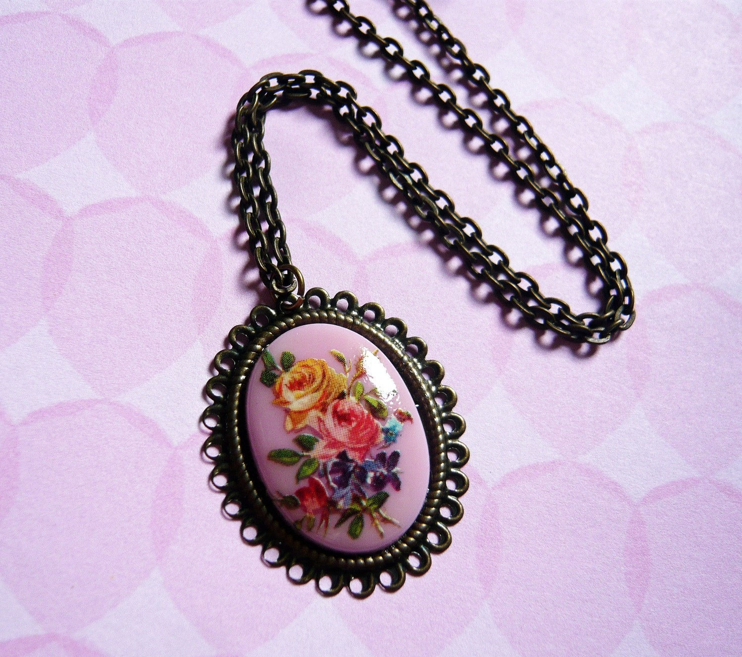 Lilac Floral Cameo Necklace by MaruMaru on Etsy from etsycom