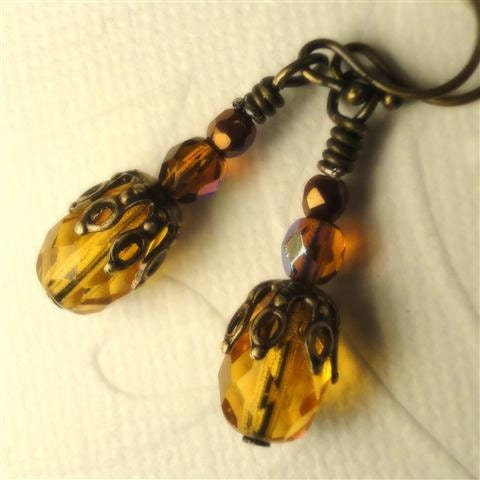 Orange Topaz Earrings Czech Amber Gold Citrine Glass Earrings Brass Filigree Natural Brass Vintage Style Earrings