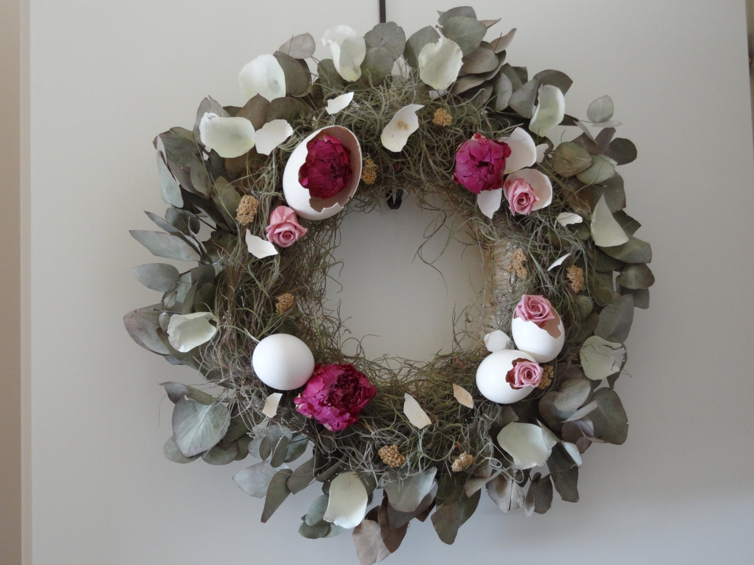 Birth Of Flowers Wreath- Preserved Peony Wreath- Spring Wreath-Easter Wreath- Eggs Wreath- Mother's Day Wreath- Hanging Wreath - SteliosArt