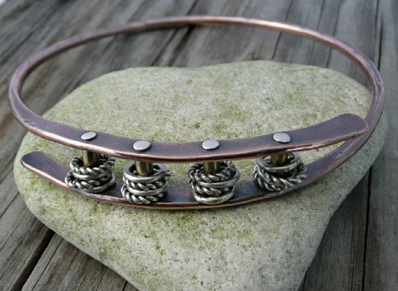 Forged, Cold Connected Copper Bangle Bracelet