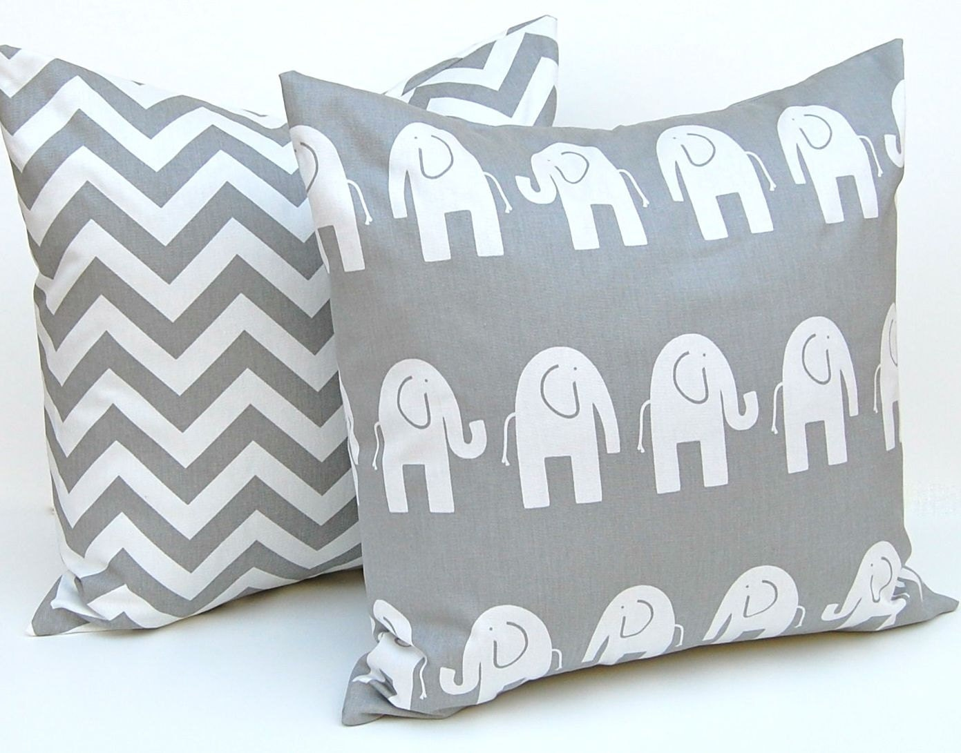 Pillow Decorative Pillows Children Decor Gray Animal Pillow Covers Accent Pillows Nursery Decor 16 x 16 Inches Elephant and Chevron Prints