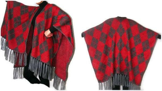 argyle poncho shawl,red shawl poncho,warm,soft,new trend,fashion accessories fall,spring,winter,for her,tricot fabric,tassel,gi - seno