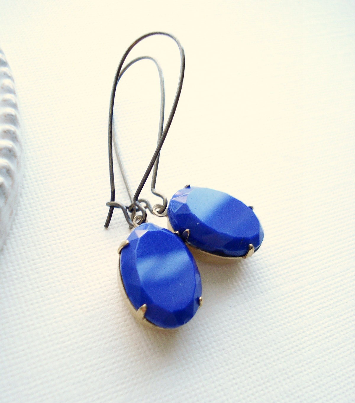 Cobalt Blue Long Drop Earrings In Brass, Dark Blue Dangle Earrings, Vintage Style Jewelry, серьги, сережки