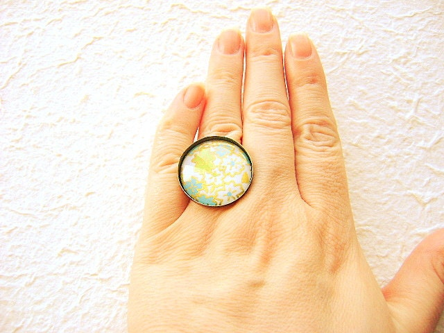 Japanese Ring Yuzen Washi Chiyogami Paper Ring Domed Glass