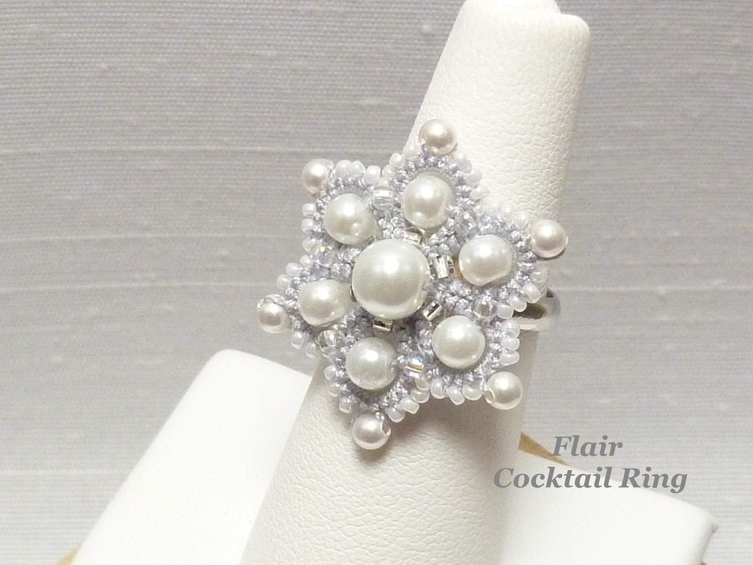 Lace Cocktail Ring Tatted silver Flower with Swarovski pearls
