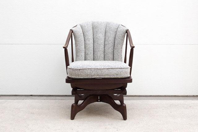 SALE Vintage Custom Upholstered Mid Century Wood and Wool Swivel Rocker - HomesteadSeattle