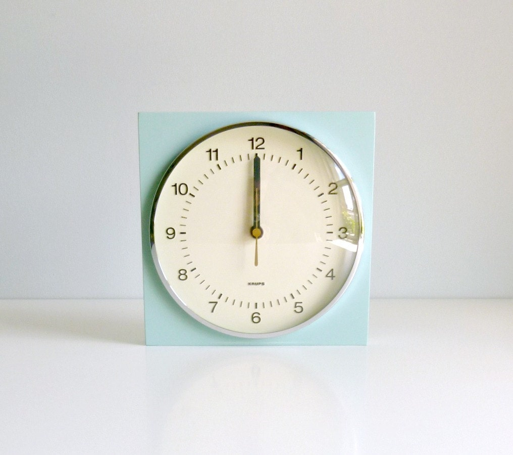 Mid Century Modern Wall Clock - Mint, Aqua Blue - Minimalist - KRUPS Germany - Mad Men, 1960's, Kitchen, Study, Den Home Decor - mungoandmidge