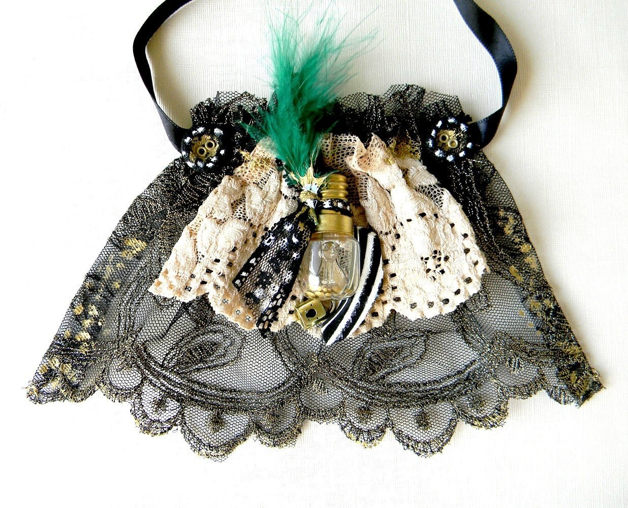 Victorian jabot, necktie,green black, ruffle, upcycle jabot, vintage, spring fashion, feather, romantic steampunk , nude lace, one of a kind - Elyseeart