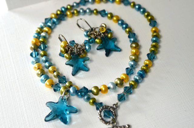 "Starfish Necklace Pearl Necklace Pearl Earrings Starfish Earrings ""Dreaming of Summer"""