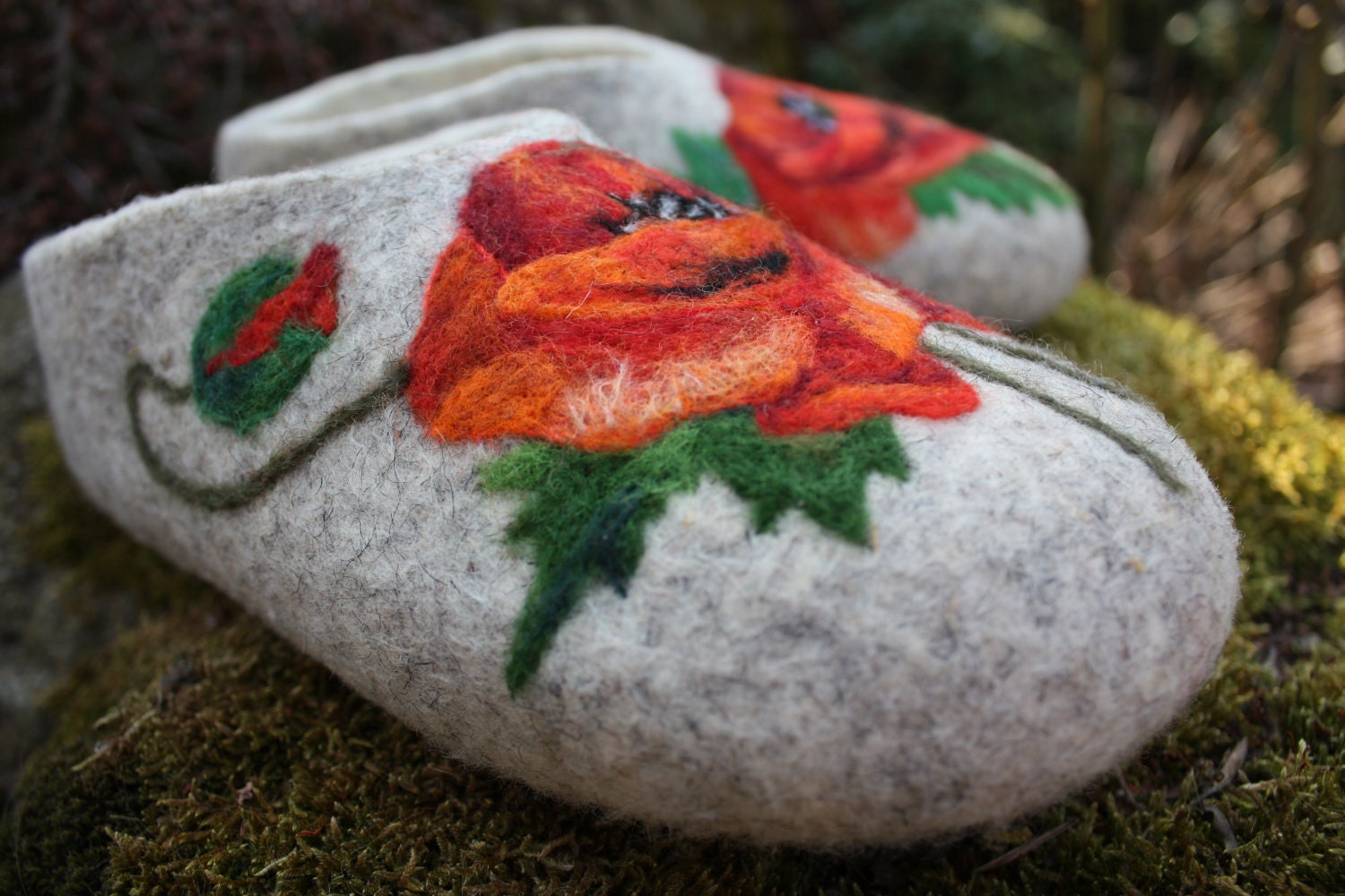 Felted Slippers- Poppy Flowers -Made to order-
