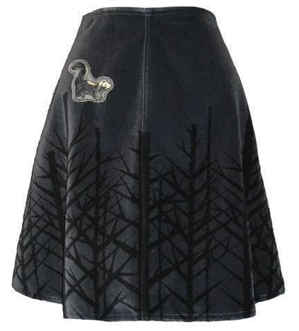 winter woods skirt - charcoal gray - bare trees hand screen printed velveteen with skunk brooch
