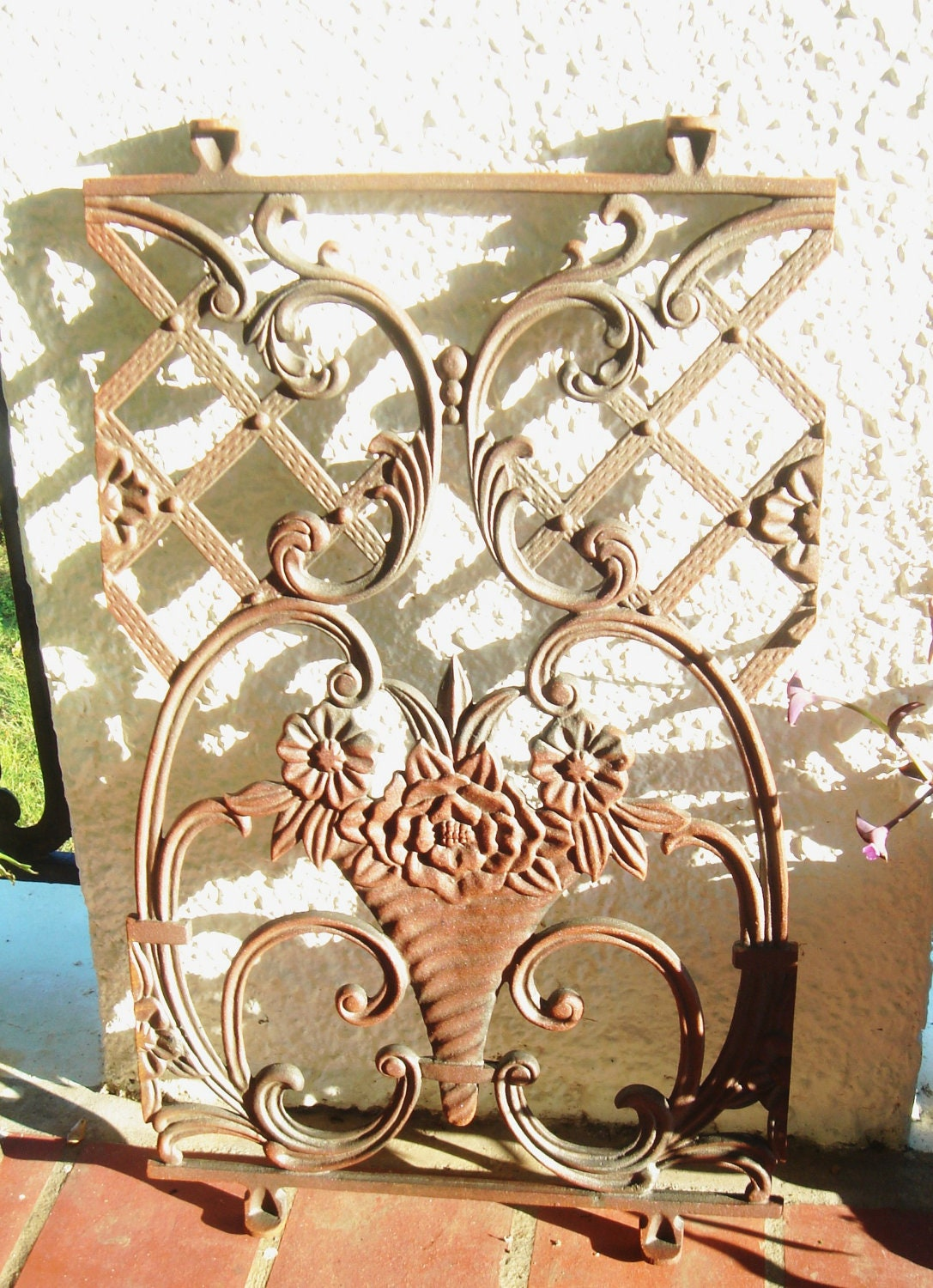Cast Iron Lattice Flowers Vase Architectural by Theironsmith