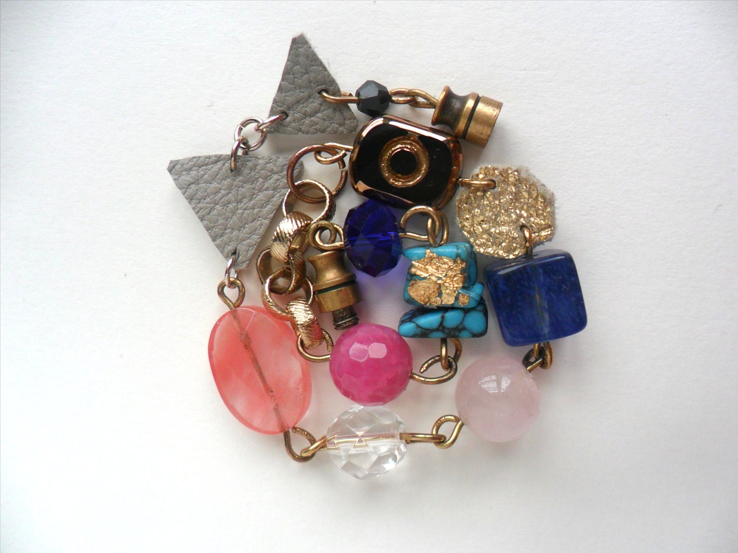 gold,pink,blue and grey chain and bead bracelet - FushiaGold
