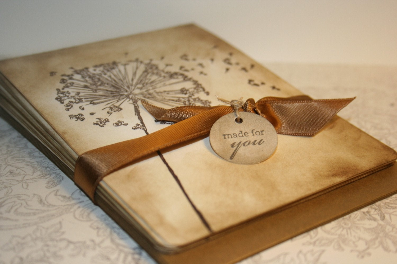 Wish Dandelion Vintage Notecards - Dandelions - Set of 5 - anistadesigns