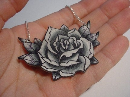 big vintage black and white surreal tattoo rose necklace From wickedminky