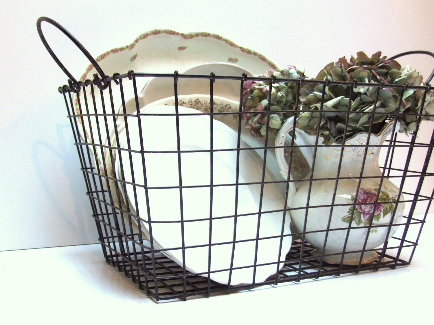 Large French Industrial Wire Basket with Handles - WdWsDesignTrends