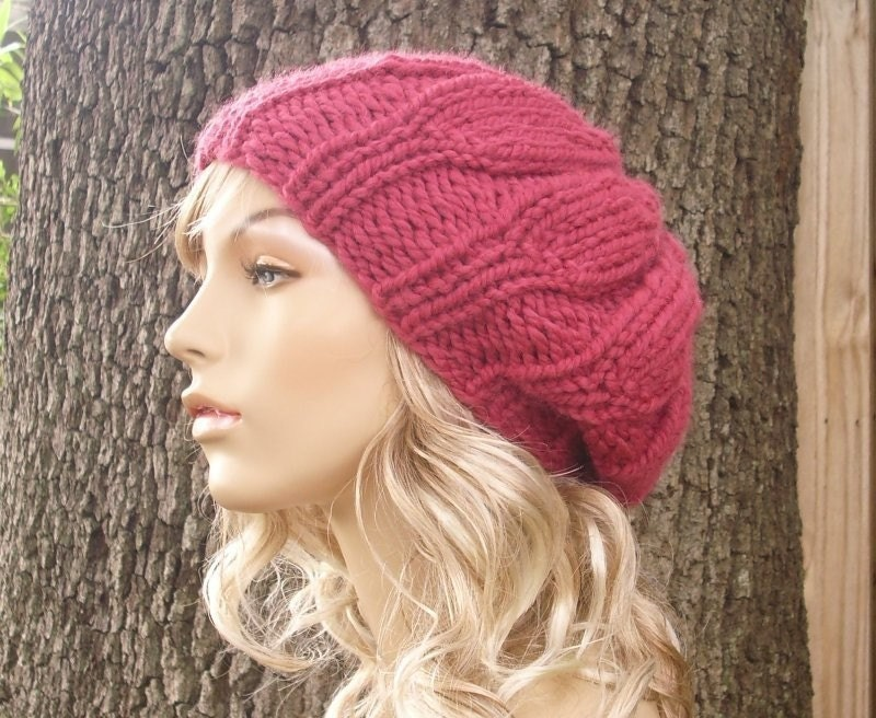 Hand Knit Hat Womens Hat - Urchin Beret Hat in Raspberry - Winter Fashion Winter Accessories Chunky Knit