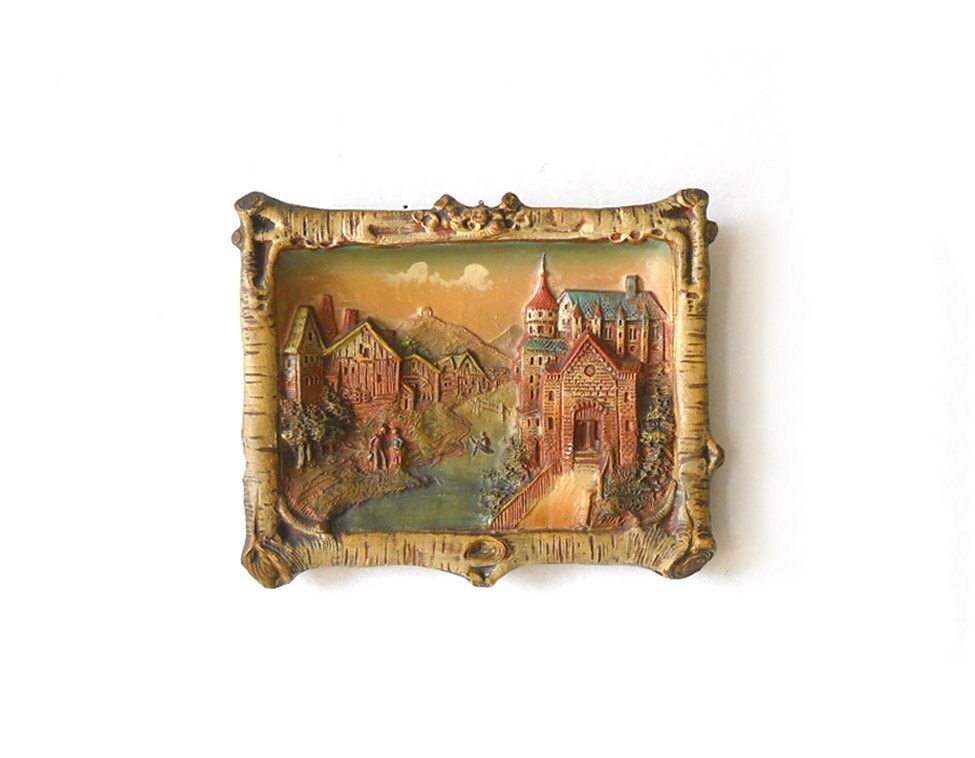 Antique Terracotta Wall Plaque Joseph Strnact Castle Scene Austria - MomsantiquesNthings