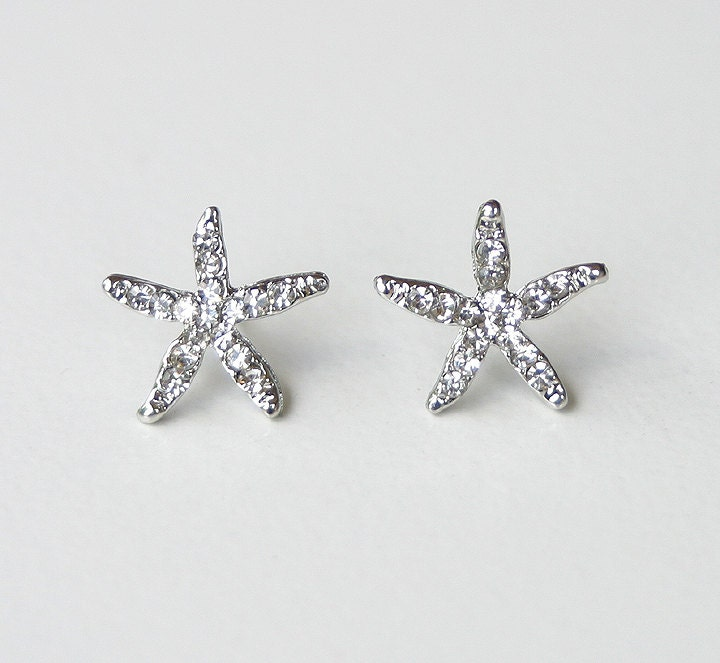 Starfish Earrings. Beach Wedding Jewelry Bridal Accessory Crystal Starfish Stud Earrings