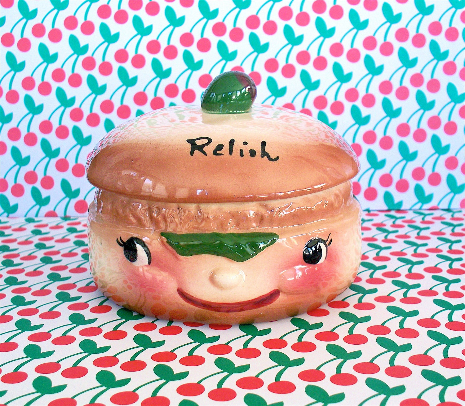 Vintage  Kitsch Super Cute DeForest Relish Hamburger Face Covered Dish