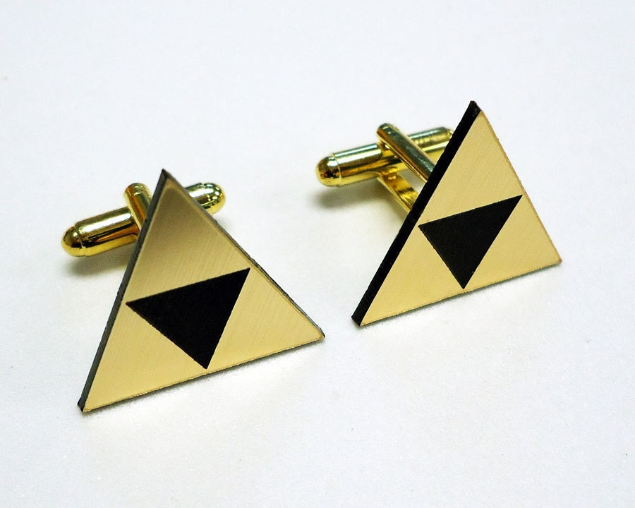 Tri force Zelda gold cuff links in FREE gift box groom wedding