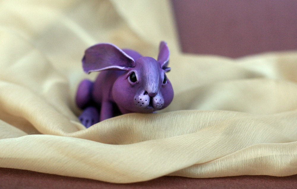 Violetta rabbit. Polymer clay miniature by Madre Olius