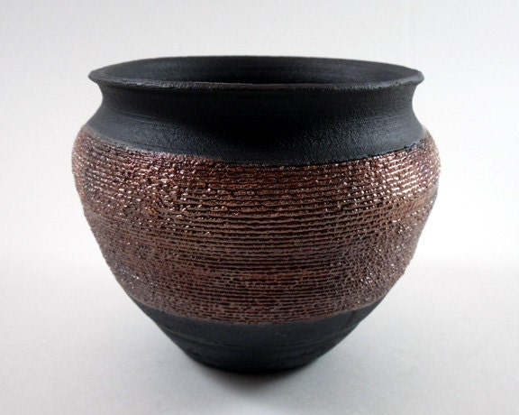 Textured Ceramic Copper Bowl, Raku Pottery - ThrowingShop