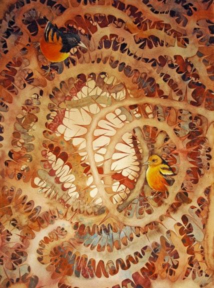 Thorn Birds Original Watercolor - HelenKlebesadelArt