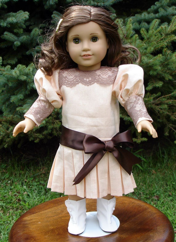 Titanic Era Peach Linen Brown Lace Dress fits American Girl Rebecca and other 18 inch dolls