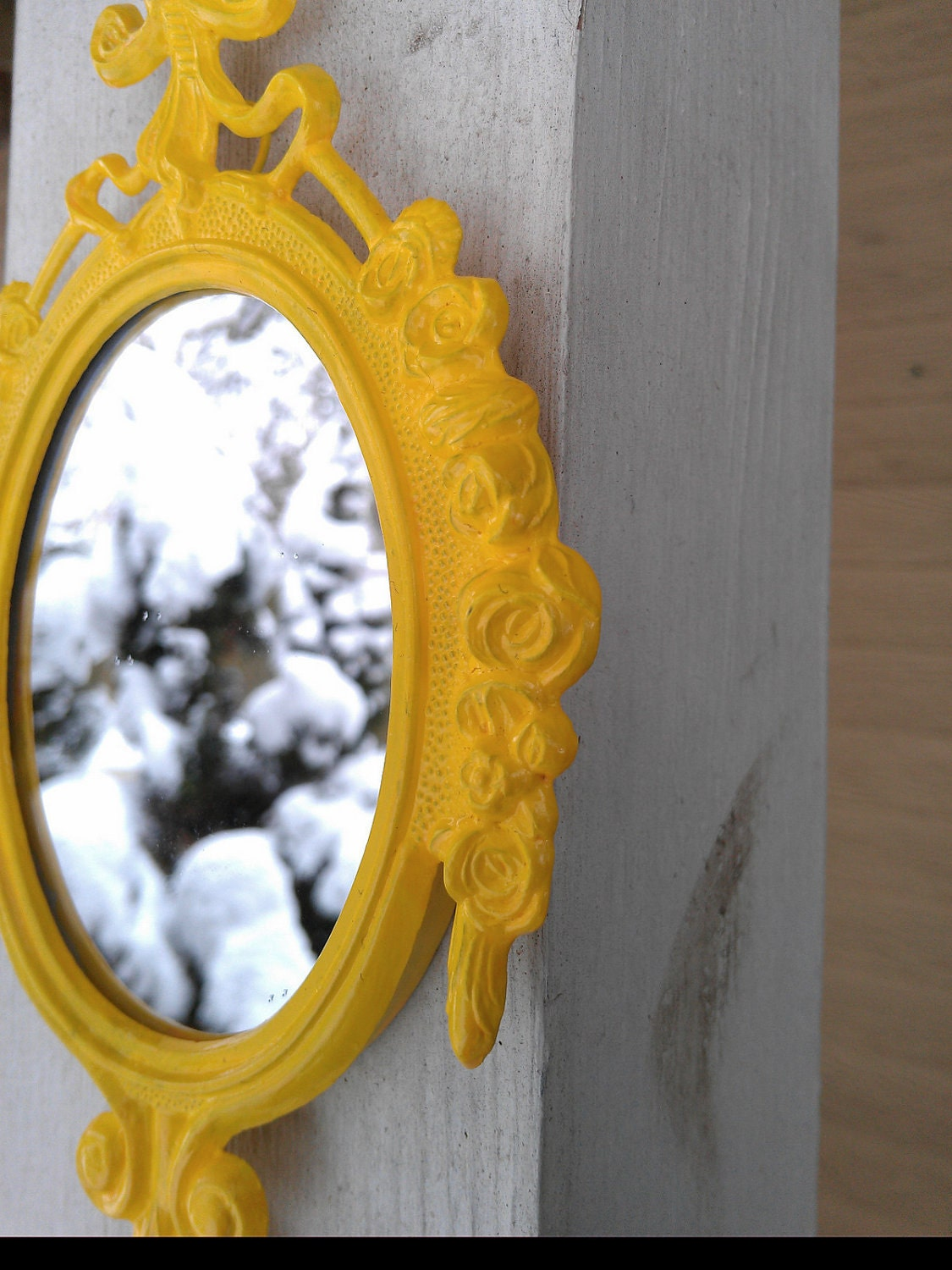 Small Mirror in Vintage Lemon Yellow Frame - Revived Vintage