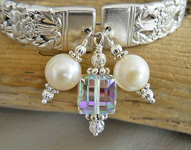 Spoon Bracelet - Coronation Silver Plated Spoon Bracelet with Genuine Pearls and Swarovski Cube