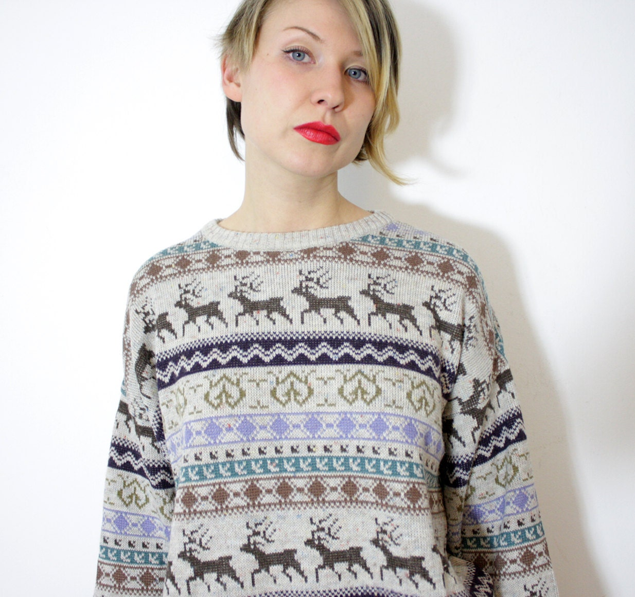 Vintage sweater. deer fair isle gray brown purple green knit. size L