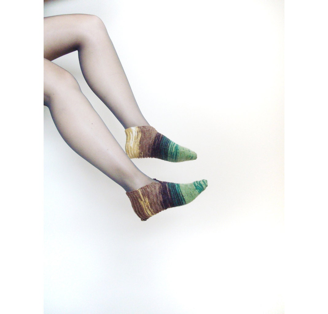 Women knit slippers - green and brown socks - size EU 37 - 38  / US 7 - 7,5 - alexmalexdesigns