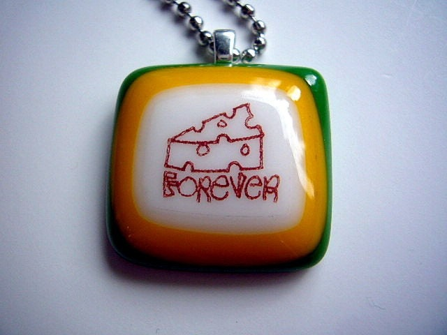 Cheesehead Forever  glassfused handmade necklace