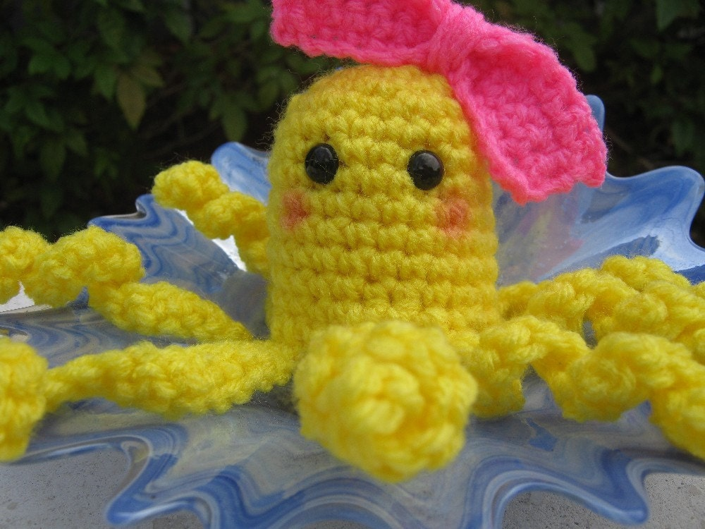 Amigurumi Crochet Lemonade Octopus In Yellow with a by PinkFrog4U from etsy.com