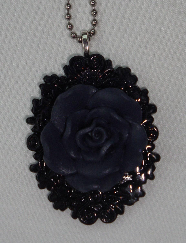 Grey Rose Pendant - TwistedBelle