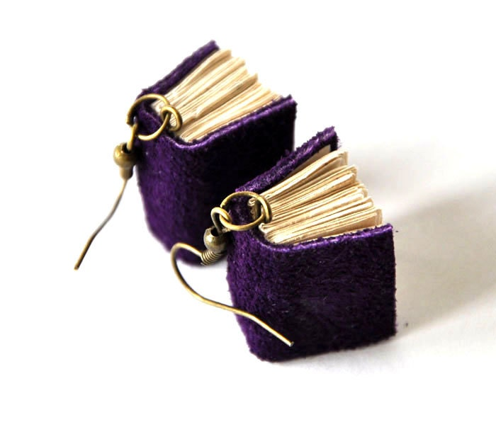 FREE SHIPPING violet books earrings, purple earrings, mini books jewelry, miniature leather books, journal, notebook, indigo, suede journal