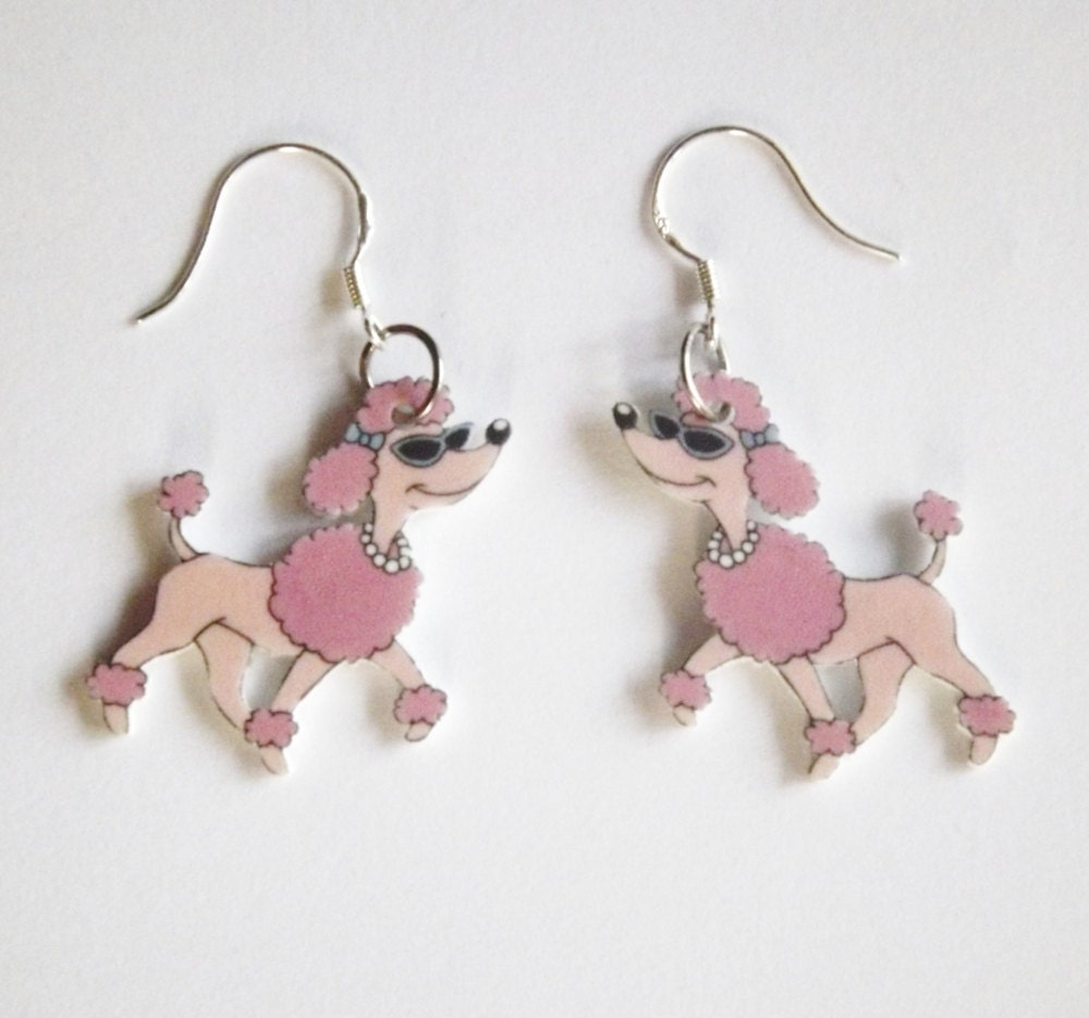Poodle Earrings -  Dog Earrings -  French Poodles - Vintage  Retro Inspired Dog Jewelry - Pink Poodle Earrings - Dog Lovers - koolstuff2