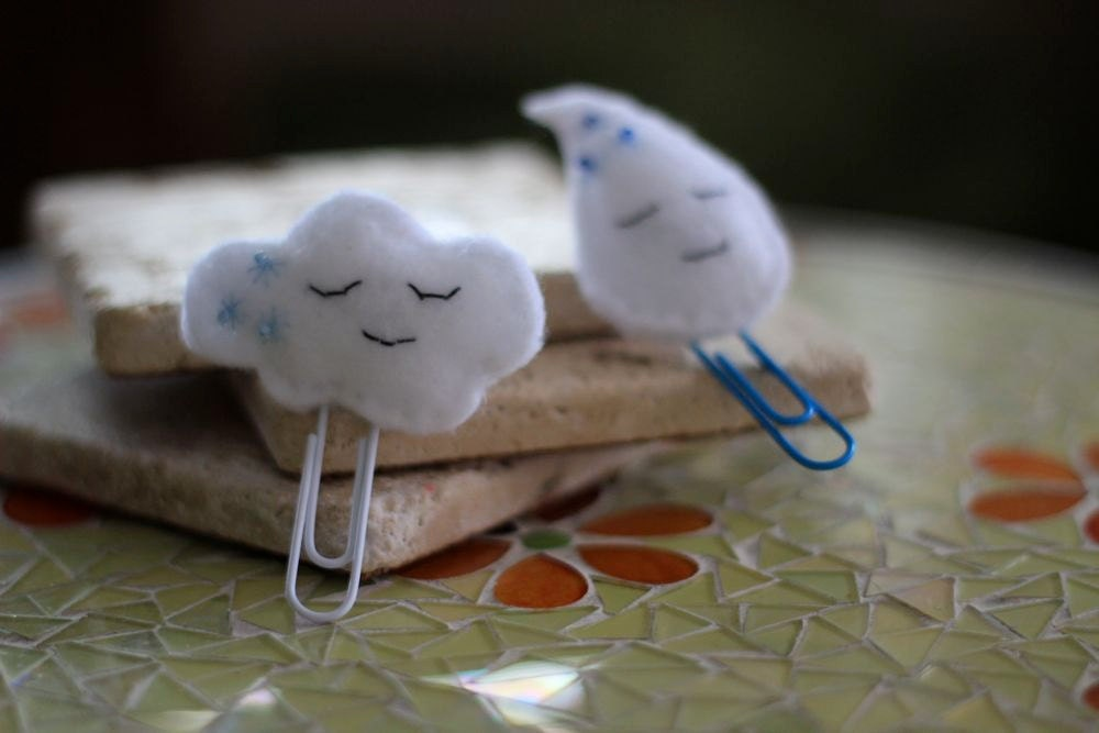 Paperclip Bookmark Felt Cloud and Raindrop Set
