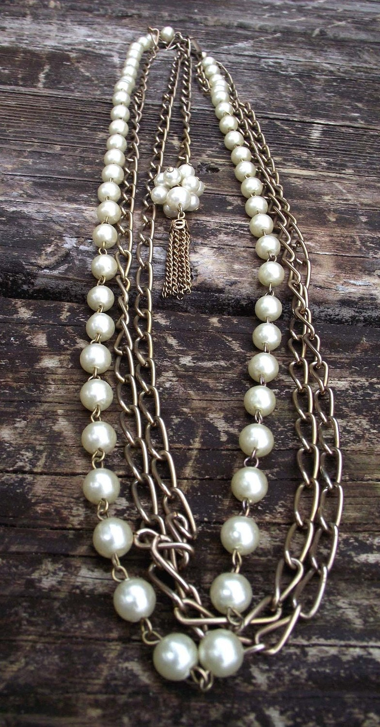 VintageGold Tone Chain with Faux Pearls Triple Chain