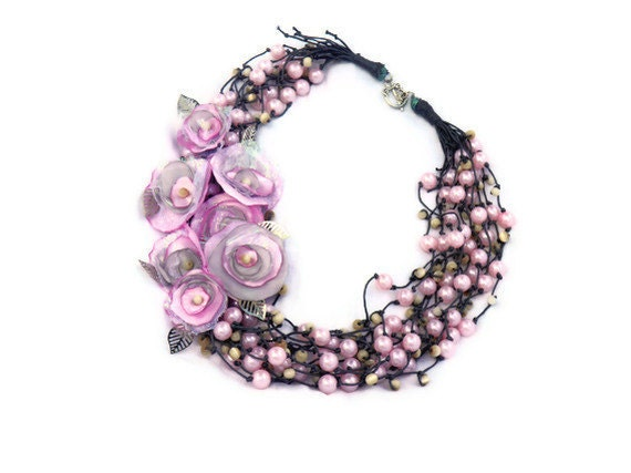 Beaded Necklace with Pink  flowers/ 11 Strands/ Brides necklace/ summer fashion/ pink/  ready to ship - Marywool