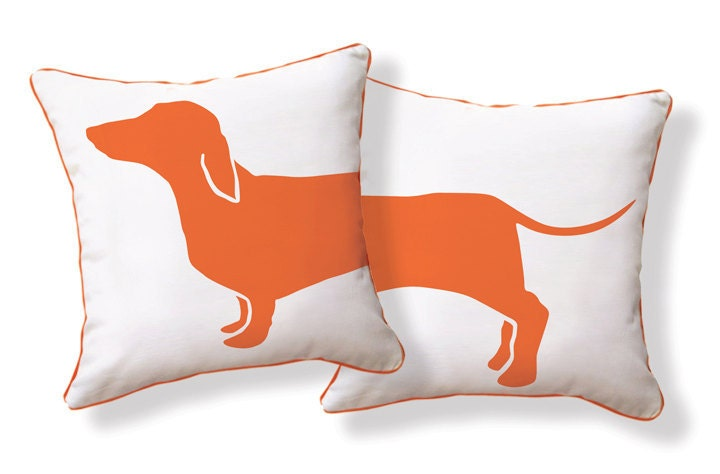 Amusing Dachshund Doxie pillow from Happy Hot Dog Collection / Orange & White - nakeddecor