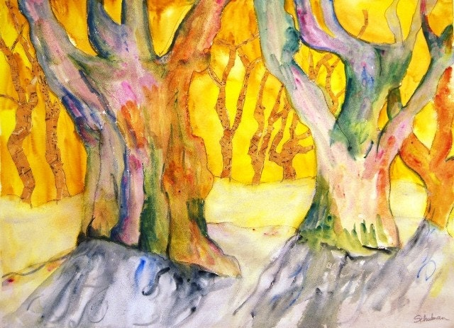 "Tree Painting LARGE modern Contemporary ART 22x30"" Citrine yellow, bamboo mustard yellow background, phlox purple, orchid hush trees"