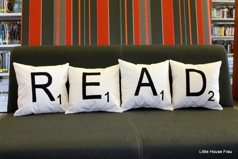 READ Scrabble Tile Letter Pillows