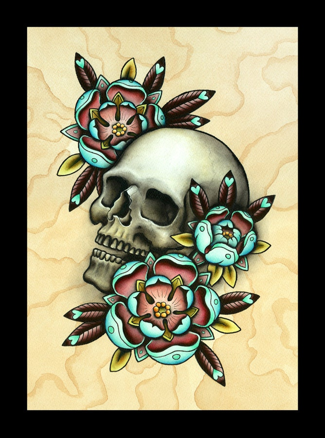 Skull Roses Tattoo Flash 16 x 12 406cm x 305cm print of my