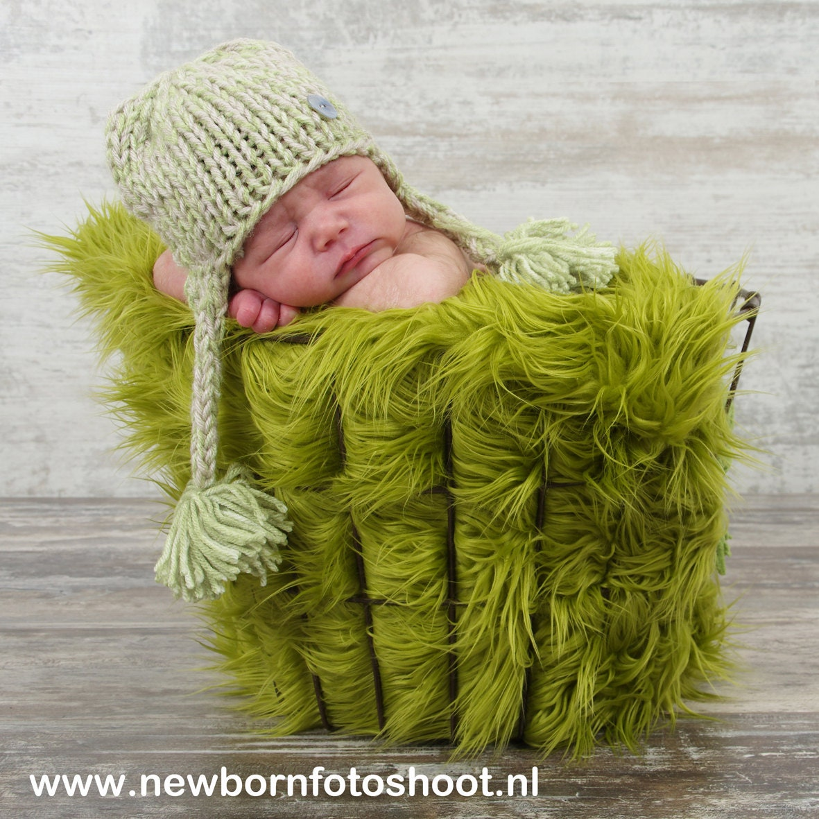 "Olive Green Newborn Baby Boy or Girl  Mongolian 3"" Pile Faux Fur Blanket, Great for photo prop - EcoStreet"